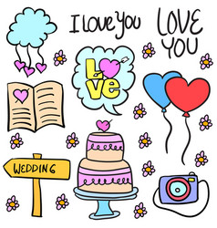 Doodle of wedding object colorful style vector