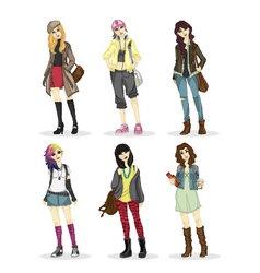 Fashionable big city girl style vector image vector image