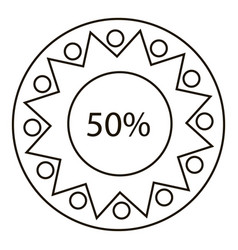 Fifty percents infographics outline style vector