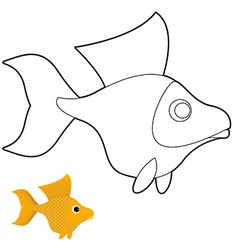 Goldfish coloring book Fantastic yellow fish vector image vector image