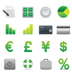 green finance icons vector image