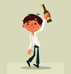 happy smiling drunk office worker man character vector image vector image