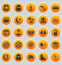 Holiday icons set collection of khutbah food vector