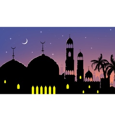 Horizontal cityscape arab city night banners vector