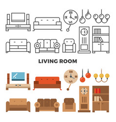 Living room furniture and accessories collection vector