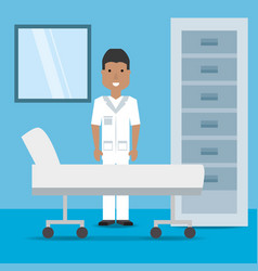 Man doctor with stretcher and file cabinet vector