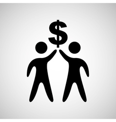man two silhouette holdign symbol dollar design vector image