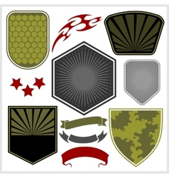 Military shields and elements - set vector image