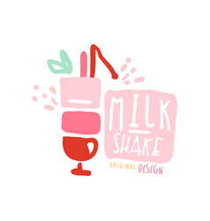 milk shake logo template in pink colors badge for vector image