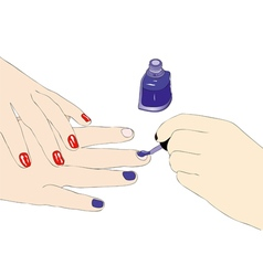 Proof of nail polish in a beauty salon vector