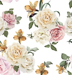 Seamless floral pattern with roses watercolor vector image vector image