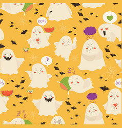 seamless pattern ghosts emoticon halloween vector image vector image
