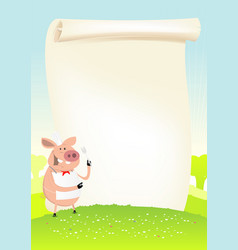 Spring funny pig cook in a field vector