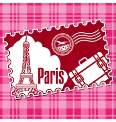 Stamp with the sightseeing on the eiffel tower vector