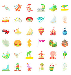 tour icons set cartoon style vector image vector image