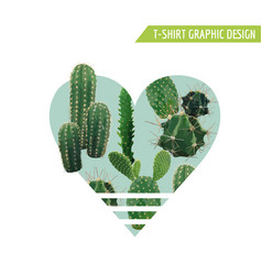 Vintage tropical summer cactus heart design vector
