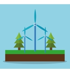 Wind mill pine tree and ecology concept design vector