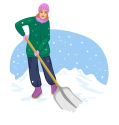 Young cheerful woman cleans the road from snow vector image vector image