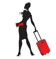 young womenstewardess silhouette vector image