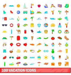 100 vacation icons set cartoon style vector