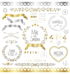 Wedding romantic collection with labels ribbons vector