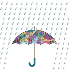 Umbrella and rain colorful vector image