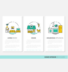 House interior business brochure linear vector