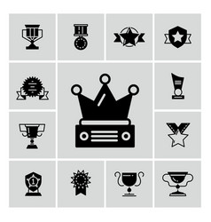 Awards trophy and prizes black icons vector
