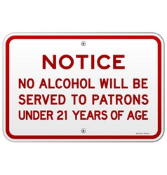 Alcohol notice 21 years vector