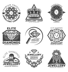 Vintage monochrome jewelry shop labels set vector