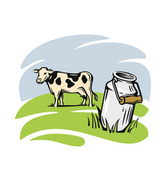 milk cans with cow vector image