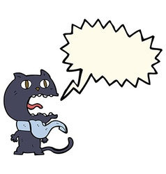 Cartoon frightened cat with speech bubble vector