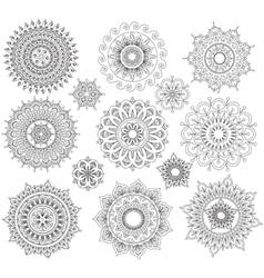Set of round ornament patterns vector