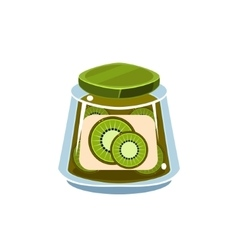 Kiwi jam in transparent jar vector