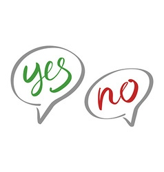 Yes No speech bubbles lettering vector image