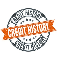 Credit history round orange grungy vintage vector