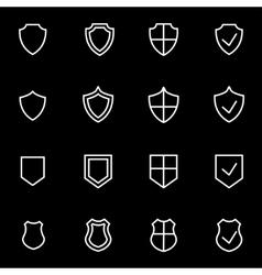 Line shield icon set vector