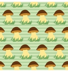 Seamless pattern with porcini on green striped vector