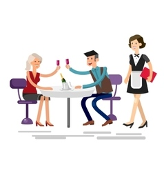 detailed character people in the restaurant vector image