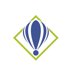 Abstract icon hot air balloon in a green diamond vector