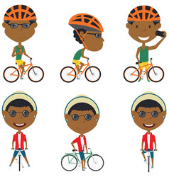 African american bicycle rider boys vector