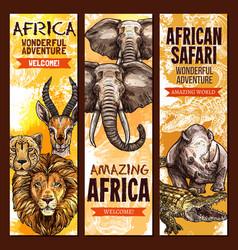 african safari outdoor adventure sketch banner set vector image vector image