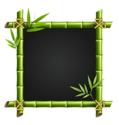 Bamboo frame with leafs isolated on white vector