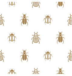 Beetle gold and white seamless pattern for vector