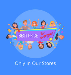 Best offer for everyone promotional poster people vector