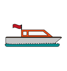 Boat with flag icon image vector