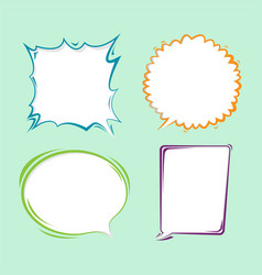 Bubble speech border cartoon set vector