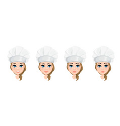 Chef woman face with various emotions set cute vector