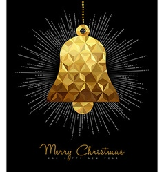 Christmas and new year gold decoration bell vector