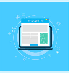 contact us page in computer vector image vector image